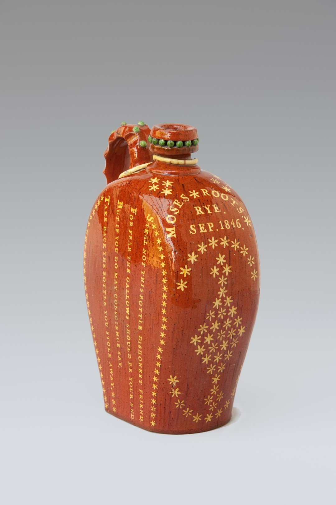 Image of Sussex Pottery <br>Rye Flagon inscribed  'Moses Roots Sept 1846'