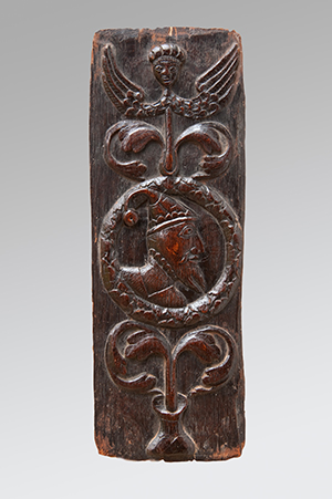 Image of Rare Carved 16th Century Oak Panel of a Jester