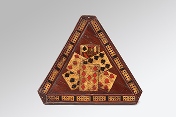 A Triangular Solid Rosewood Cribbage-Board With Painted Decoration.