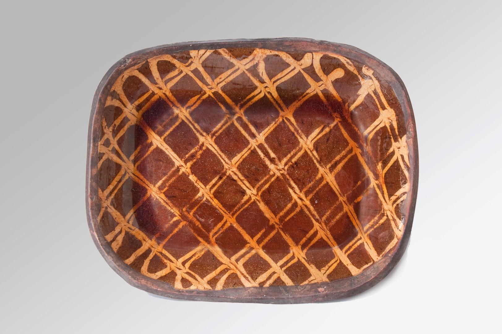 Image of A large and Impressive 18th Century Lattice Decorated Slipware Dish