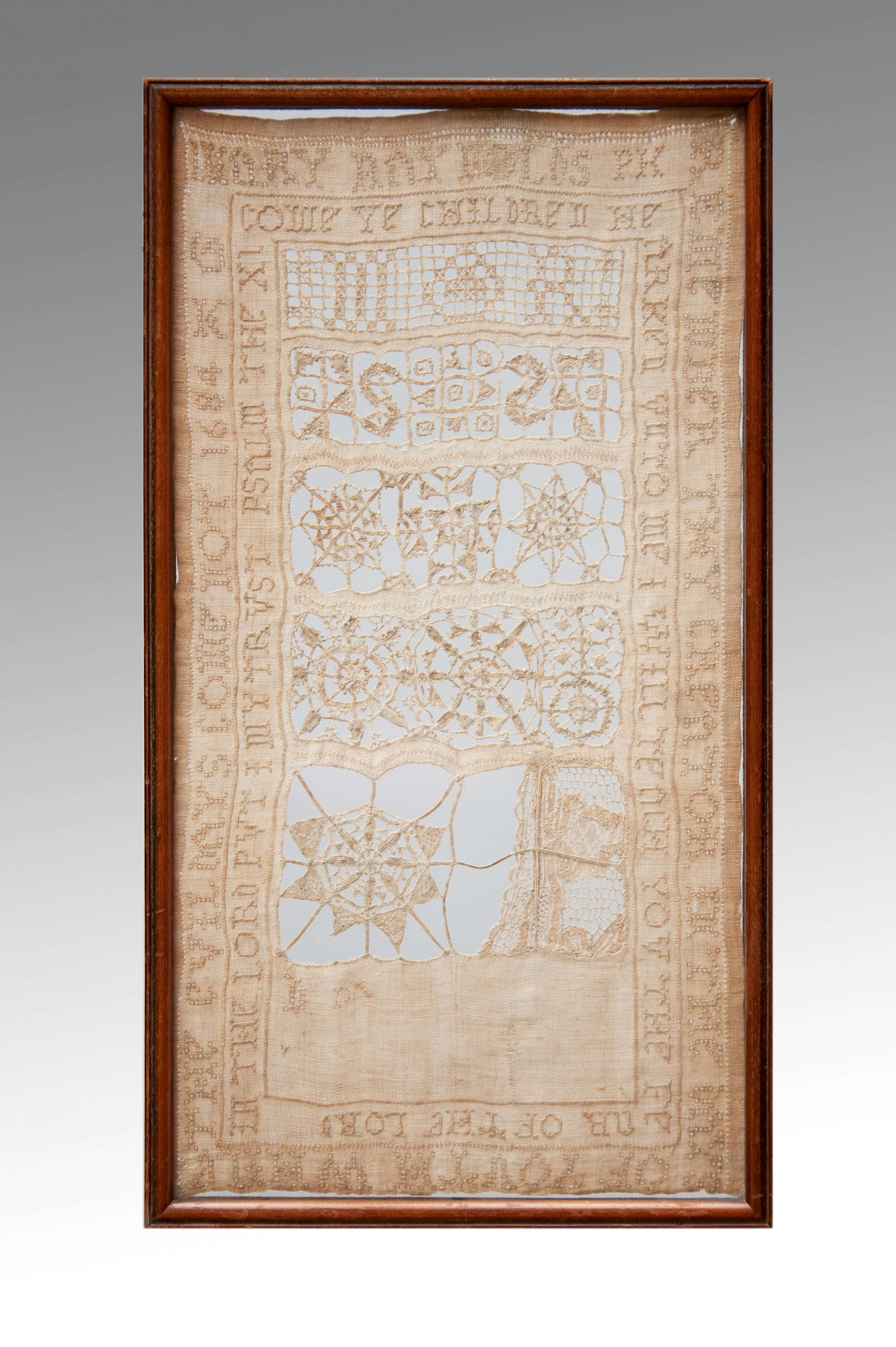 Image of A Small 17th Century White Work Sampler Dated 1684