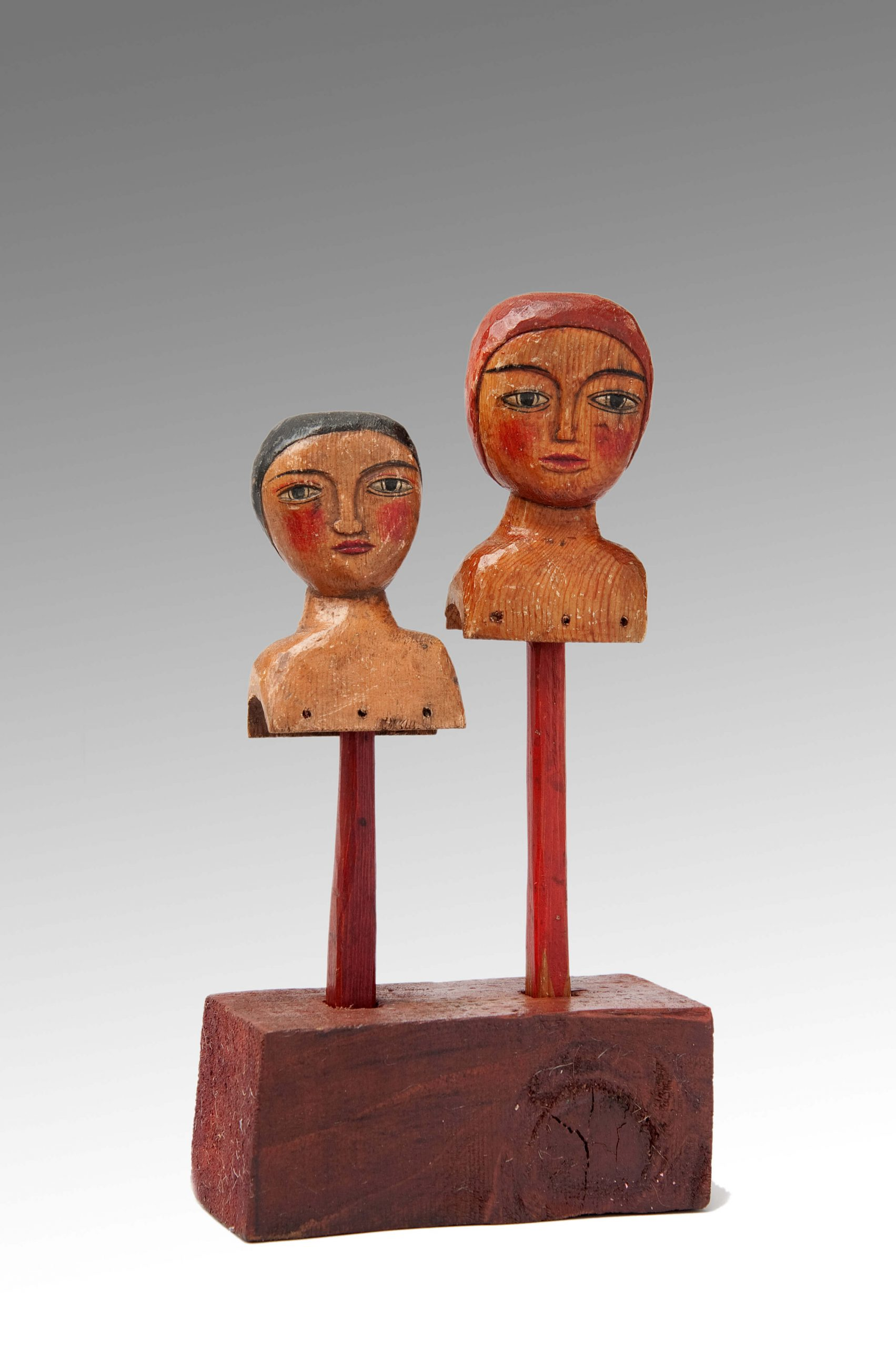 Image of A Rare Pair of Carved and Polychromed English Hand Puppets