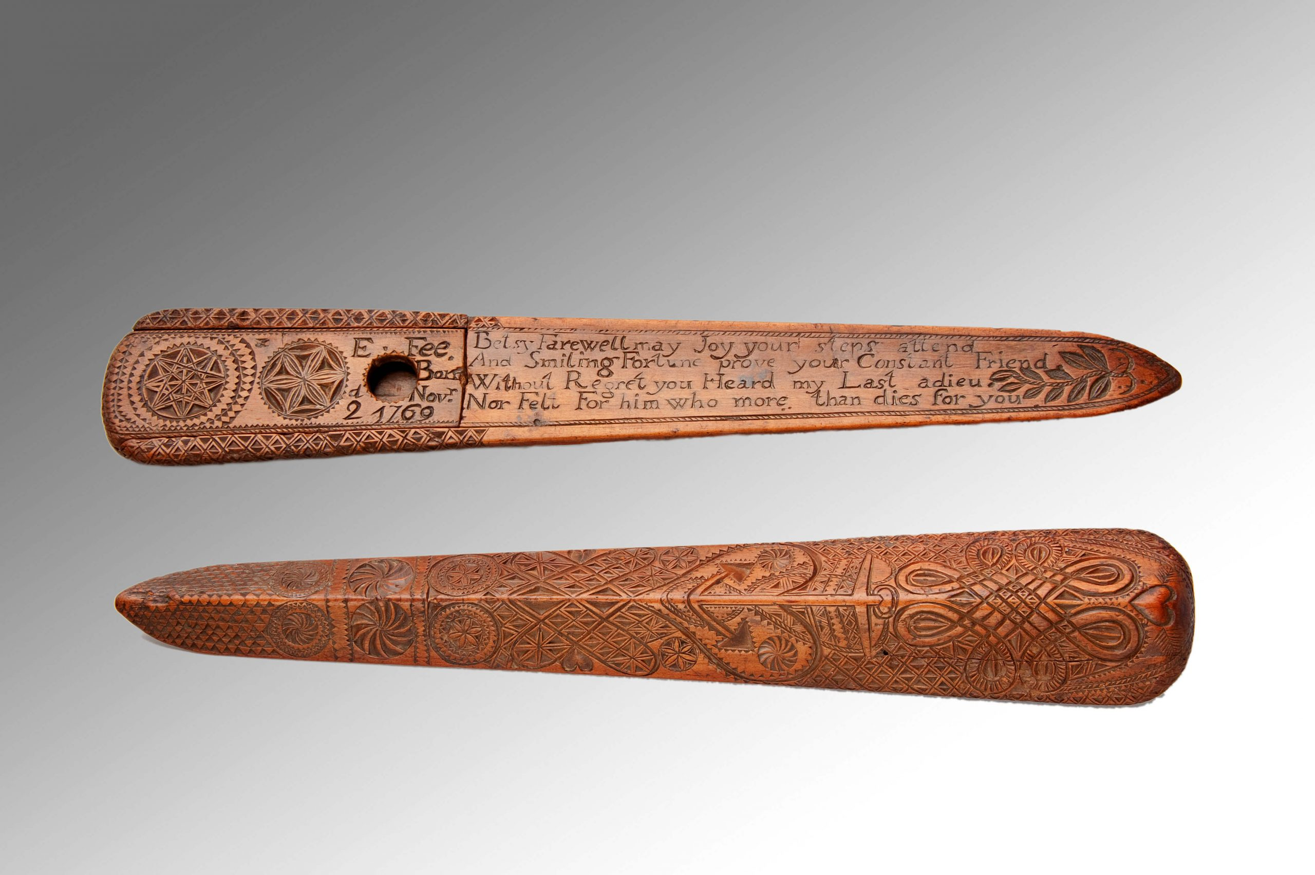 Image of Very Rare Chip-Carved Documentary Stay-busk with sliding compartment. Dated 1769