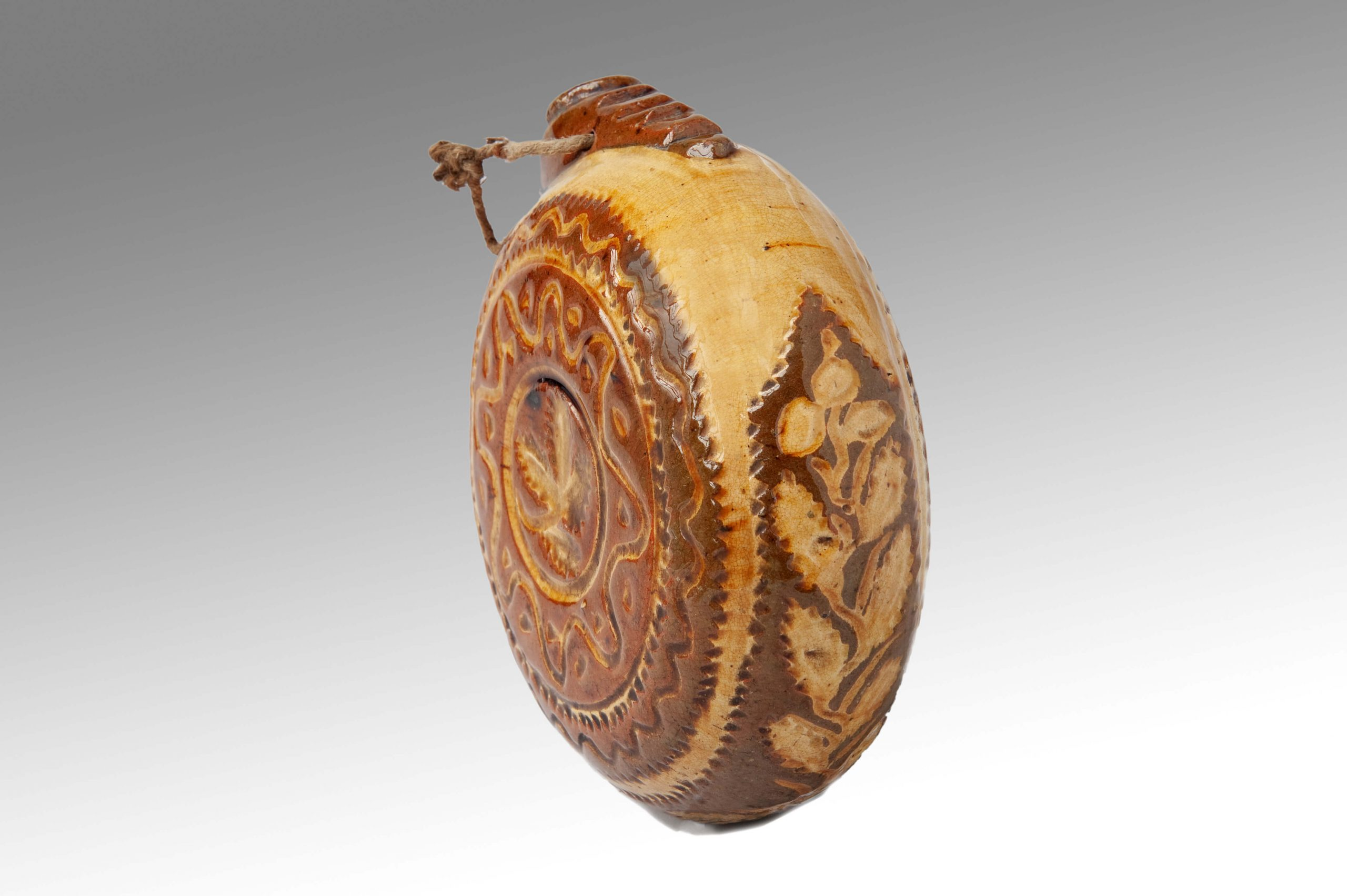 Image of Sussex Pottery <br>A Very Rare 18th Century Sussex Pilgrim Flask from Chailey