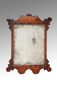 Image of An Unusual Walnut Veneered Looking – Glass Circa 1730