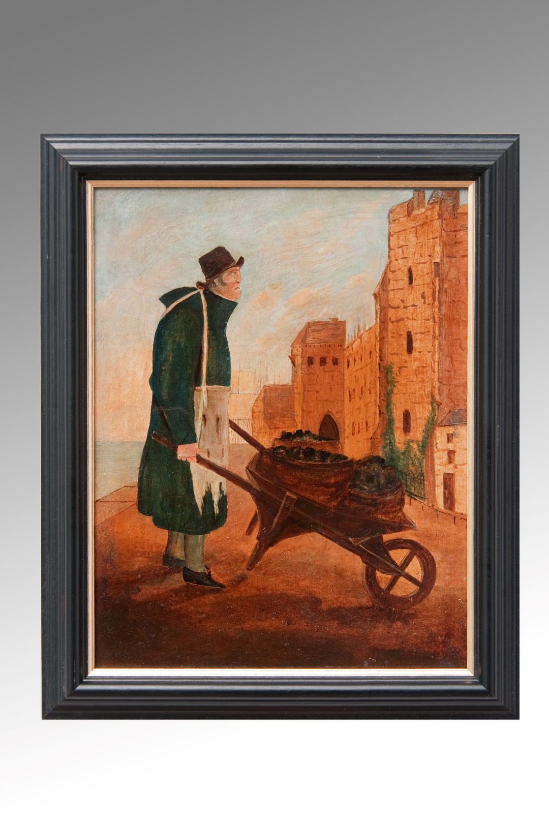 Image of A Coal Delivery by Wheelbarrow a 19th Century Oil on Board