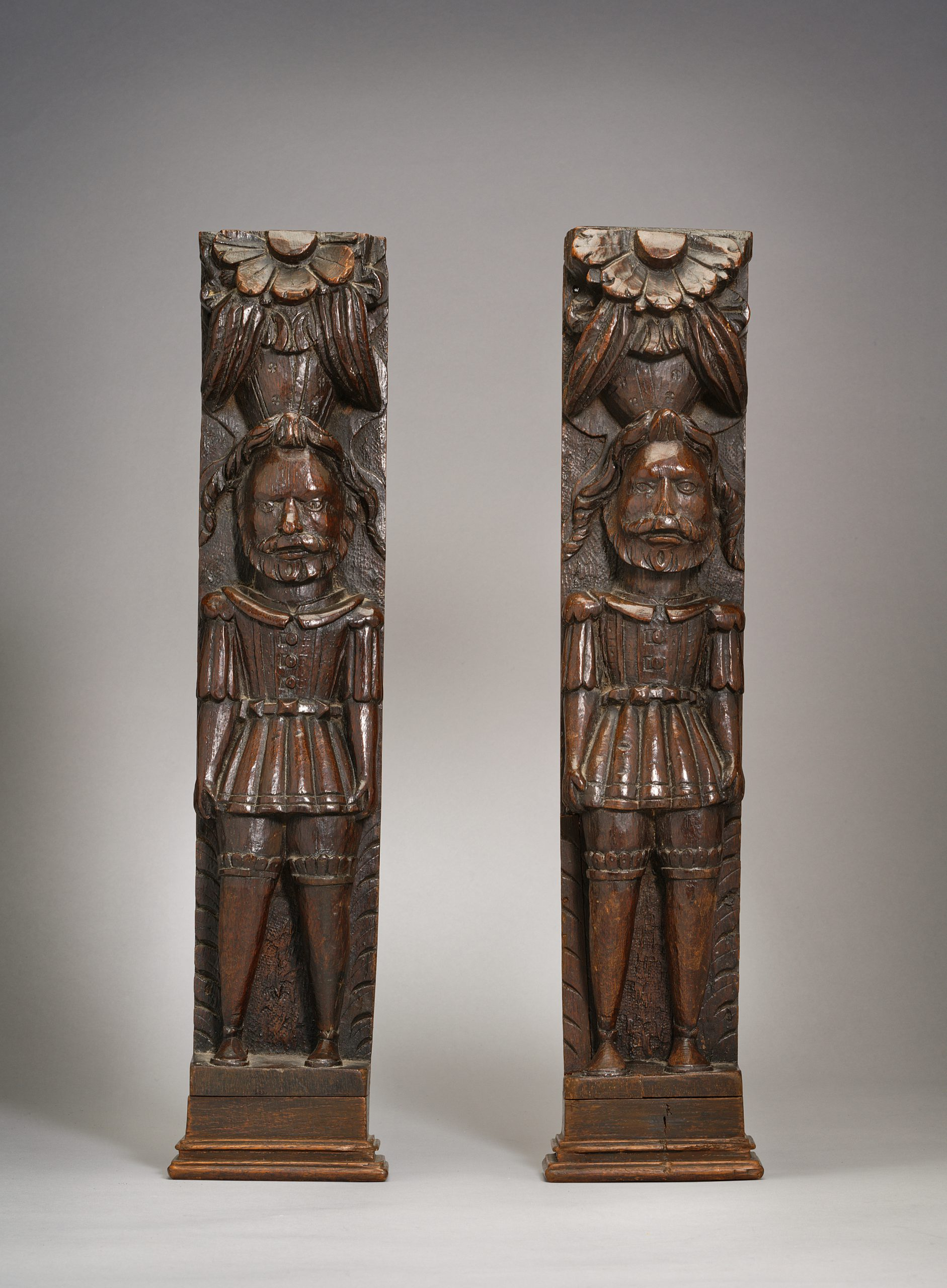 Image of A Pair of Carved Oak Tudor Figures