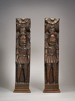 A Pair of Carved Oak Tudor Figures