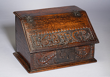 A Small Charles II Boarded Oak Desk-Box