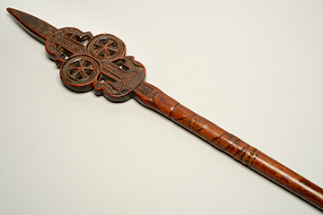 A Chip-Carved Fruitwood Distaff