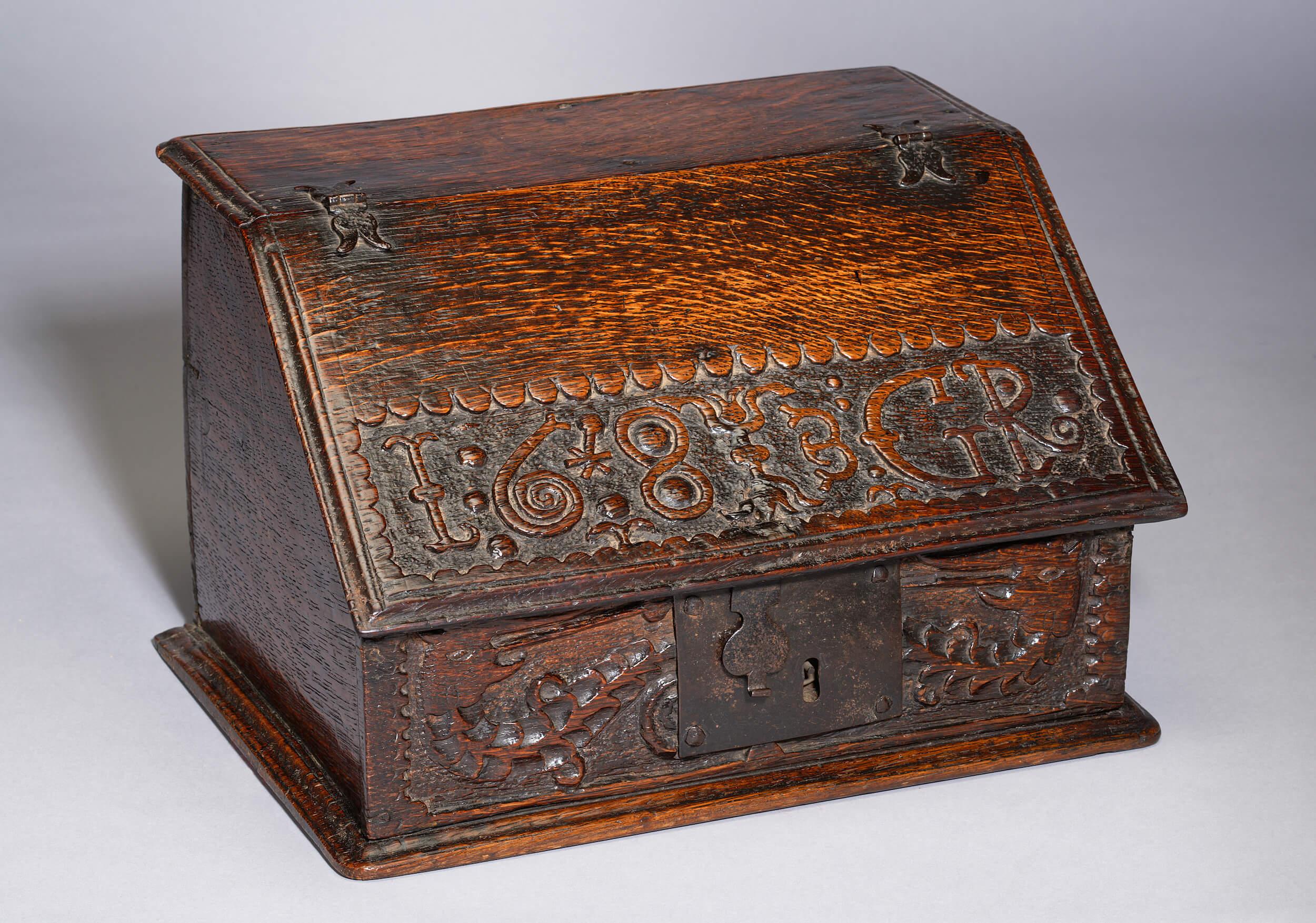 Image of A Small Charles II Boarded Oak Desk-Box