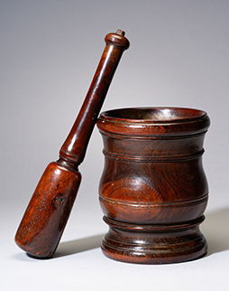 A William & Mary Lignum Vitae Mortar & Pestle