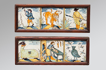 Image of Six Early Polychrome tiles – Displaying images of man and beasts
