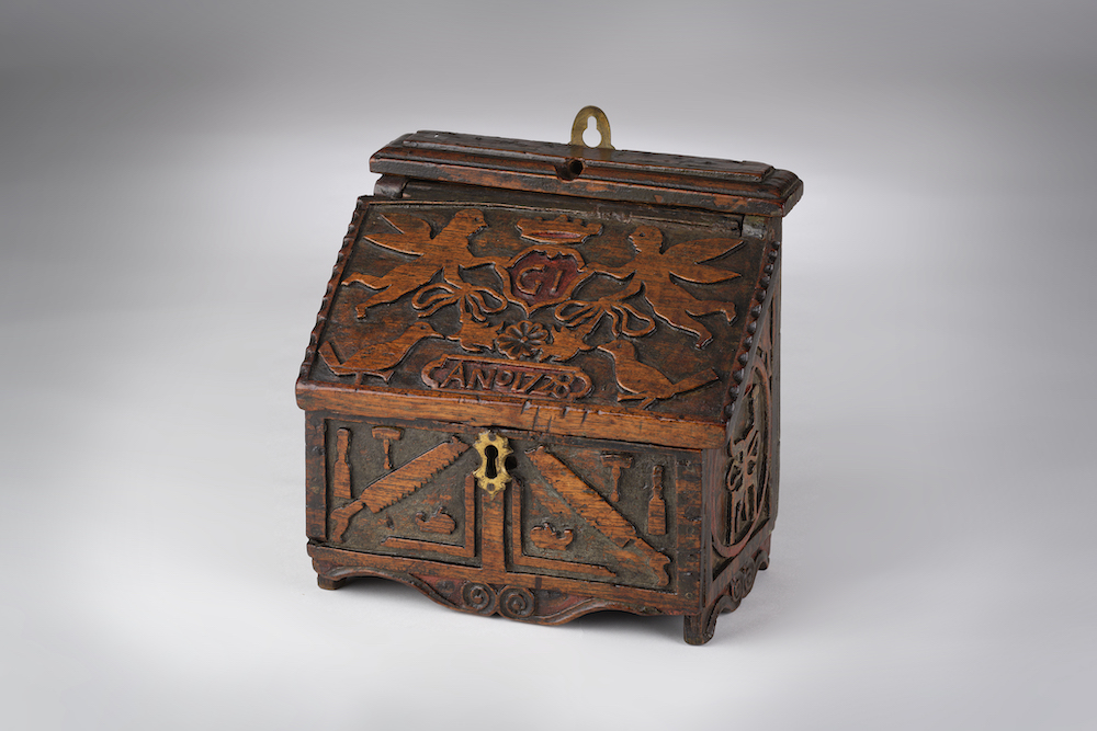 Image of A Boarded Carpenters Wall-Box Dated 1728