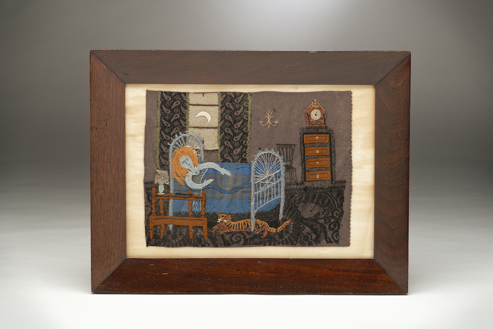 Image of A Folk-Art Felt & Lace Collage 'Cat-Nap by Moonlight'